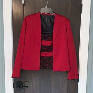 Sandra Daren black and red tank and jacket